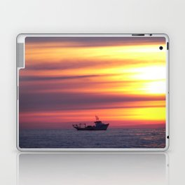 Fishing Boat At Sunrise Laptop & iPad Skin