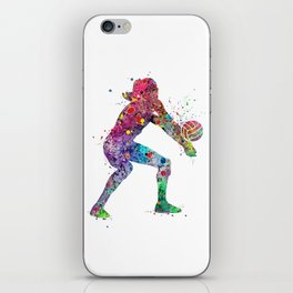 Volleyball Girl Watercolor Print Girls Room Decor Volleyball Poster Girl Volleyball Wall Art iPhone Skin