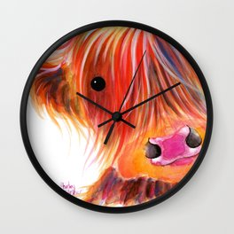 Scottish Highland Cow ' SWEET SATSUMA ' by Shirley MacArthur Wall Clock
