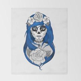 Santa Muerte Blue Throw Blanket