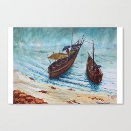 The Seaside view during monsoon season, fishermen returning back from work Canvas Print