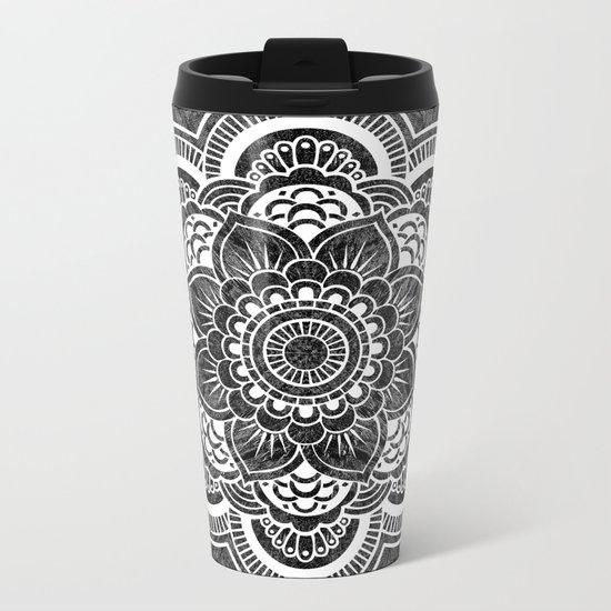 Mandala Slate Gray Colorburst Metal Travel Mug