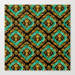 Scrolls and Sapphire Tiles Canvas Print