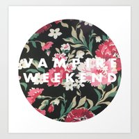 vampire weekend Art Prints featuring Vampire Weekend Floral logo by Van de nacht