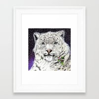 snow leopard Framed Art Prints featuring Snow Leopard by Shelli Graham