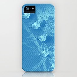 Butterflies and ghost tree in blue iPhone Case