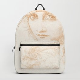 """Edward Burne-Jones """"Head of a Young Woman - Study for The Hesperides"""" Backpack"""