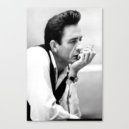 Johnny#Cash Smoking, Music Print, Country Legend, Vintage photography Canvas Print