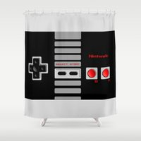 nintendo Shower Curtains featuring Nintendo Controller by Janismarika