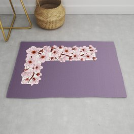 Colorful capital letter L patterned with sakura twig Rug