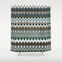 ikat Shower Curtains featuring winter ikat  by Ariadne
