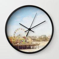 santa monica Wall Clocks featuring Santa Monica Pier by MillennialBrake