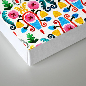 Colorful oriental watercolor floral pattern. Canvas Print