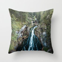 königssee waterfall alps bayern forrest drone aerial shot nature wanderlust Throw Pillow