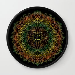 Mandala Ohm Yay Green Wall Clock