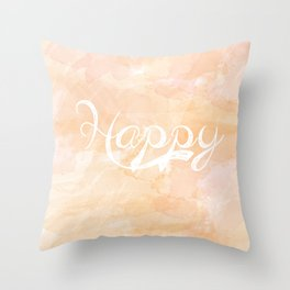Watercolor Happy Throw Pillow