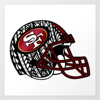 49ers Art Prints featuring Tribal Style 49ers by Lonica Photography & Poly Designs