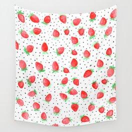 Strawberry Polka Dots Wall Tapestry