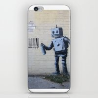 banksy iPhone & iPod Skins featuring Banksy Robot (Coney Island, NYC) by Limitless Design