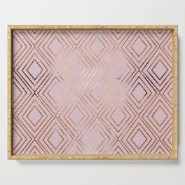 Elegant pink gold geometrical argyle gradient Serving Tray