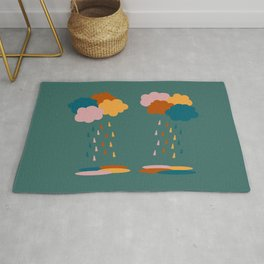 Colorful clouds and rain drops pattern Rug
