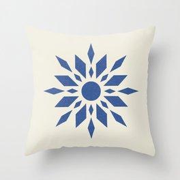 Starburst Retro - Navy Blue Throw Pillow