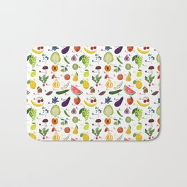 English fruit and vegetables alphabet Bath Mat