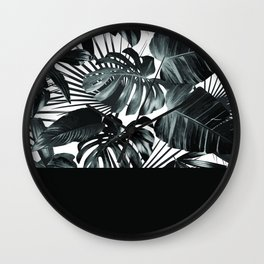 Palm Leaves and Black Wall Clock