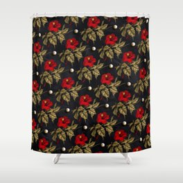 Red and Gold Hibiscus with Pearls Pattern Shower Curtain