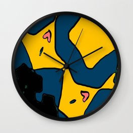 Navy Gold Doodle Wall Clock