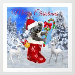 Baby Koala Christmas Cheer Art Print
