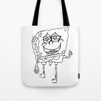 spongebob Tote Bags featuring Spongebob by Autumn Dawn