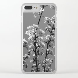 Tree Blossoms in Black and White Clear iPhone Case