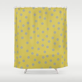 Simply Dots Retro Gray on Mod Yellow Shower Curtain