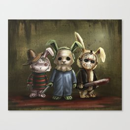 Horror Bunnies - Parody of Jason, Freddy and Michael Myers Canvas Print