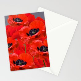 MONTAGE OF RED ORIENTAL POPPIES GREY COLOR ART Stationery Cards