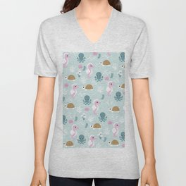 Deep Sea friends turtles jelly fish squid and sea horses girls pattern Unisex V-Neck