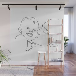 """ Mother's Day "" - Mother Kissing Child Wall Mural"
