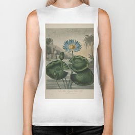 Temple of Flora Blue Egyptian Water Lily Biker Tank
