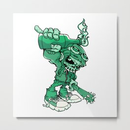 Anarchy Skeleton - Mountain Meadow Metal Print