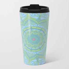 Blue and Green Flower Mandala Metal Travel Mug