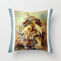 tigers Throw Pillows featuring Little Tigers by Trudi Simmonds