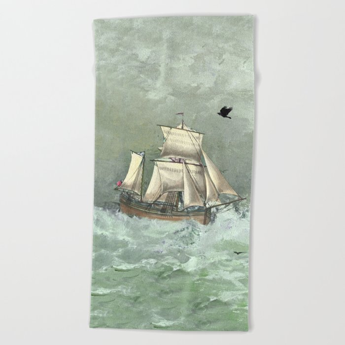 Breaking waves still Beach Towel