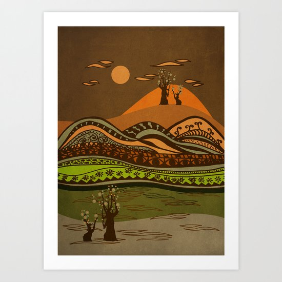 psychedelic mountains Art Print