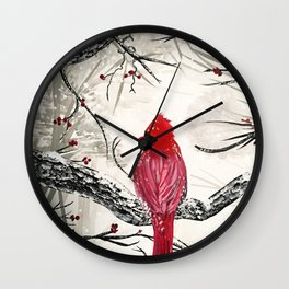 Red Robins Winter Wall Clock