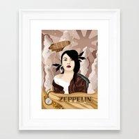 led zeppelin Framed Art Prints featuring Zeppelin by Cécile Appert