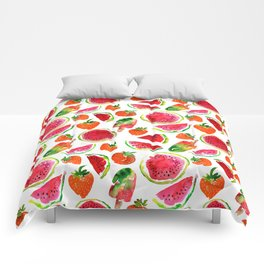 Watercolor watermelon and strawberries fruit popsicles illustration Comforters