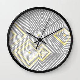 White, Yellow, and Gray Lines - Illusion Wall Clock