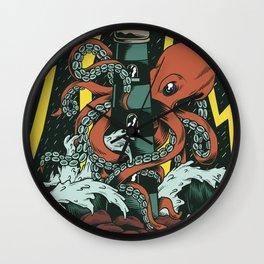 Octopus and Lighthouse Art Wall Clock