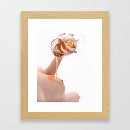 7689-JAL  Honey Dripping on Avonelle's Beautiul Bare Breast by Chris Maher Framed Art Print